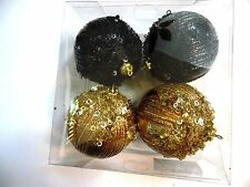 4 BLACK & GOLD 4 Inch Sequins glitter Shatter Resistant Christmas Ornament