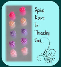 Roses Resin 5 Pairs 5 Colours Spring Roses Beads with holes for Beading Flowers