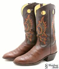 Hondo Mens Cowboy Boots 12.5 D Leather two tone brown Western Buckaroo Made