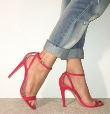 RIVER ISLAND Red Patent Ankle Strap Barely There Stilettos Heels Size 6 / 39