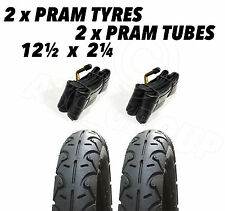 "2 x Pram Tyres & 2 x Tubes 12 1/2 X 2 1/4"" Huack Roadster Infinity Jeep"