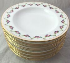 "Set of 12 MINTON Gold RIMMED SOUP BOWLS 8 1/4"" Diameter Rose Swag"