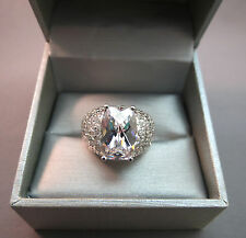 Sterling Silver Ring Huge CZ Stone Size 8 R China 11.16 Grams 14mm Excellent!