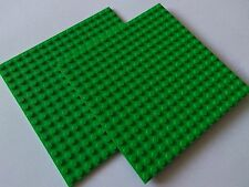 2 x LEGO BRIGHT GREEN BASE PLATES 16x16 PIN  NEW