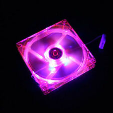 80mm 12V 4Pin Pink Quad 4-LED Light Neon Clear PC Computer Case Cooling IDE Fan