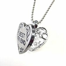 Best Friends Friendship Locket Heart Necklace Charm Silver Christmas Gift