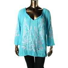 INC 7587 Womens Blue Embroidered Sequined Pullover Top Blouse Plus 1X BHFO