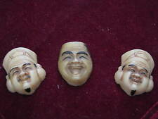 """Three TOSHIKANE style era Molded Glass CHINESE FACES Ivory Colored 1"""" Plaquettes"""