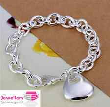 925 Sterling Silver Solid Heart Charm Bracelet Jewellery Womens Ladies Gifts