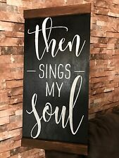 Large Then Signs My Soul God Amen Family Fixer Upper Style Black Wood Sign