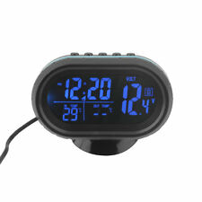 Black Screen Car Digital LCD Monitor Thermometer Voltage Alarm Clock 12V-24V JL