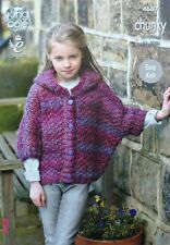 KNITTING PATTERN Girls Easy Knit Hooded Short Sleeve Coat/Poncho Chunky 4667