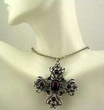 """Joan Rivers Maltese Cross Pendant with Crystals  16""""  3"""" ext. Cross is 2""""x2"""""""