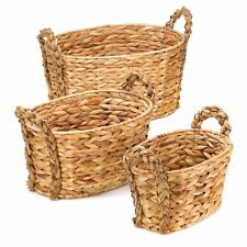 Set of 3 Nesting Woven Hyacinth Baskets with Braided Handles