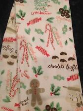 CYNTHIA ROWLEY 2 HOLIDAY KITCHEN TOWELS WHITE GINGERBREAD CANDY CANES COTTON NWT