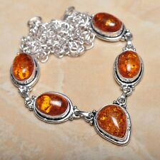 """Handmade Baltic Faux Amber Gemstone 925 Sterling Silver Necklace 21.5"""" #N00695"""