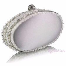 Ivory Satin Diamante Ladies Party Evening Clutch Hand Bag Hard Case Handbag