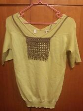 Marni Necklace Design Wool Short Sleeve Top Size 38 Mustard Yellow Italy Genuine