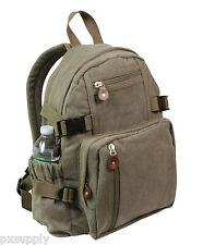 backpack olive drab canvas mini size vintage look adjustable straps rothco 9152