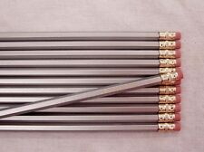 "12 Hexagon ""Silver"" Personalized Pencils"