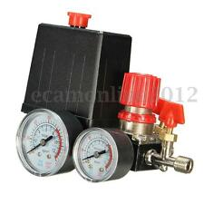 180PSI Air Compressor Pressure Valve Switch Manifold Relief Gauges Regulator Set