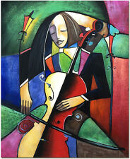 The Violoncellist Portrait Oil Painting - Hand Painted Cubist Violon Guitar Art