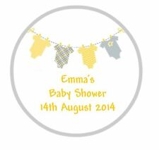 24 Personalised Round Baby Shower Stickers Labels Yellow