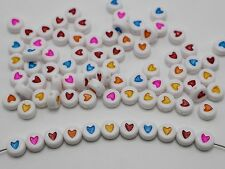 250 White with Mixed Color Acrylic Love Heart Coin Beads 4X7mm Kids Craft