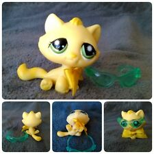 Littlest Pet Shop Yellow Tabby Cat Green Starburst Eyes 920 Chat gouttière jaune
