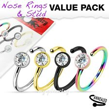 4pcs Value Pack of Assorted Titanium IP 316L with Clear CZ Nose Hoop Ring Tragus