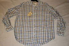Caribbean Mens NWT $80 Linen Blend L/S Button Shirt, Navy Plaid, L, Large, New
