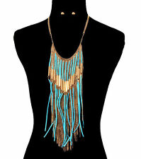 GOLD EGYPTIAN SUEDE TASSEL Statement Necklace & Earrings SET-Light Blue