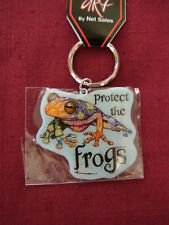 "Key Ring   ""PROTECT THE FROGS"",  Metal Key Ring,  size 2"" x 2"",   #CH 334"