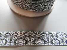 Damask black & white Fold Over Elastic Ribbon 1.6cm x 1 Metre Sewing/Crafts/Cake
