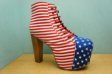Jeffrey Campbell Lita US Flag Red White & Blue Size 5 Platform Womens Boot BNWB