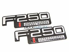 2 NEW PAIR CUSTOM CHROME 83-94 OBS FORD F250 INTERNATIONAL DIESEL BADGES SET