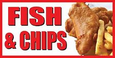 2'x4' FISH & CHIPS BANNER SIGN deep fried chips fry