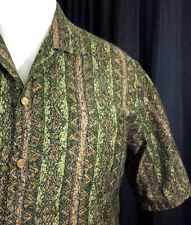 Vtg 1960's Hawaiian Casuals Shirt Stan Hicks Kamehameha Buttons Green Brown