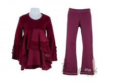 Naartjie Winter Lace Trimmed Velour Ruffle Tunic & Leggings (Cranberry) - Size 8