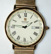 STEINHAUSEN MEN'S ULTRA THIN SWISS MOVEMENT GOLD TONE CREAM DIAL WATCH ~