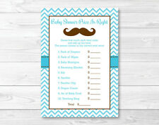 "Little Man Mustache Chevron Printable Baby Shower ""Price is Right!"" Game Cards"