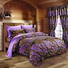 PURPLE CAMO CURTAINS WOODS CAMOUFLAGE 5 PIECE SET FOREST WINDOW DRAPERY BEDROOM