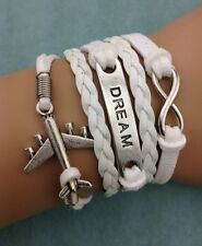 NEW White Dream Infinity Aircraft Leather Charm Bracelet plated Silver DIY M