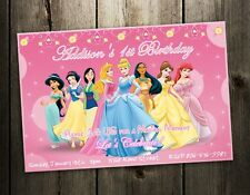 DISNEY PRINCESS BIRTHDAY PARTY INVITATION CARD CUSTOM INVITES first 1st - photo