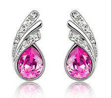 Amazing Pink Rose Crystal Angel Wings Silver Studs Earrings Rhinestone E369