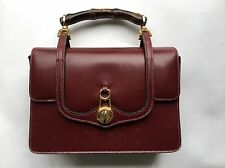 Gucci Vintage Red Leather Boxy Structural Turn Latch Bamboo Handle Handbag Purse
