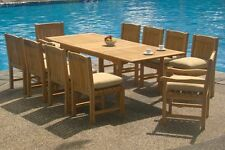 11 PC DINING TEAK CHAIRS PATIO FURNITURE SET NEW X03 - DEVON COLLECTION