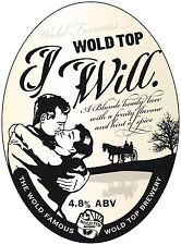 "Framed Print - Real Ale Pump Clip Wold Top ""I WILL"" Top Brewery (Picture CAMRA)"