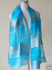 New Men's Women's Blue Tai 100% Silk Cashew Print Long Soft Wrap Shawl Scarf
