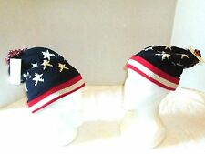 Winter Knit Ski Hat American Flag USA Patriotic Oversized Beanie Fleece Lined